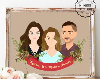 Custom Foliage Wreath Portrait Illustration - Couple Illustration - Family Portrait - Gift Idea - Newlyweds - Wedding Gift - Anniversary
