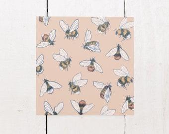 Bumblebee Pattern - Square Greeting Card