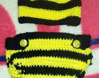Bee hat and diaper cover