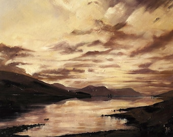 Loch Droma, Wester Ross mounted print of an original oil painting by Tracy Butler