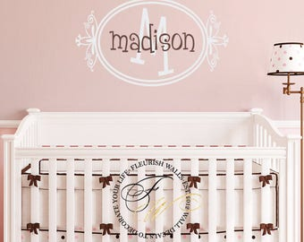Baby Girl Nursery Wall Decal - Childrens Name Wall Decal - Monogram Decal Wall Sticker - Personalized Initial Decal - Girls Room Decal GN031