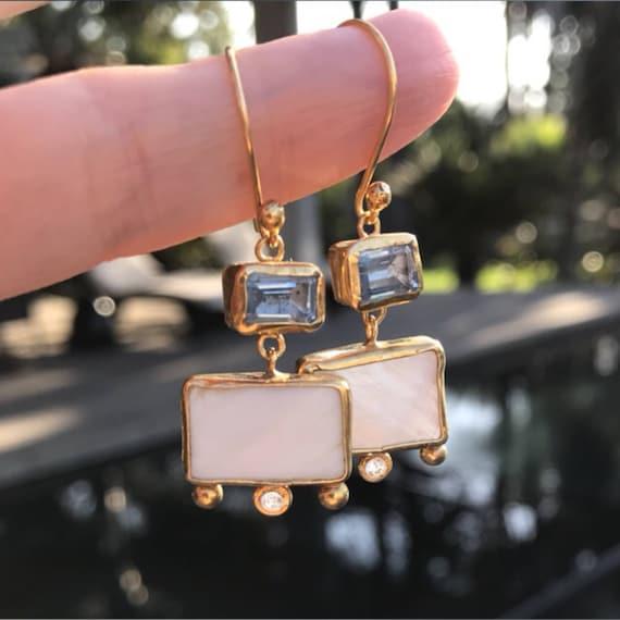 Topaz and shell vermeil earrings
