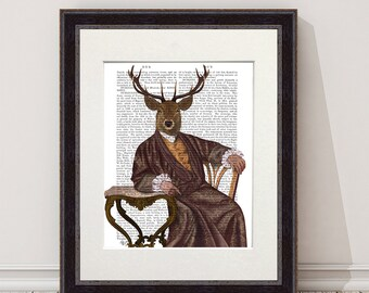 Deer painting - The Illustrious Deer - hipster home décor country house decor Dining room art mens Gift for Dad gift ideas for dad Deer art