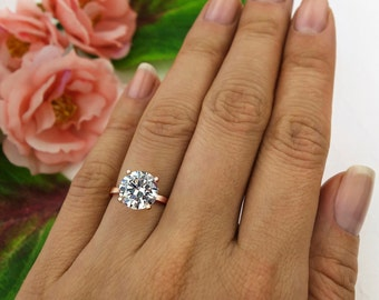 3 ct 4 Prong Solitaire Engagement Ring, Round 9mm Man Made Diamond Simulant, Wedding Ring, Sterling Silver, Rose Gold Plated, Final Sale