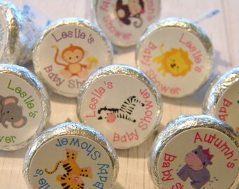 Personalized Baby Animal Hershey Kiss Stickers - Baby Shower Baby Animal Kisses Favors - Birthday Favors - Animals  - Baby Shower Favors