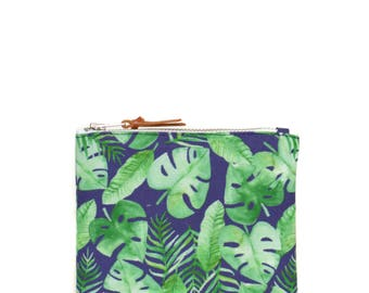 Handmade green and blue wallet with tropical monstera pattern