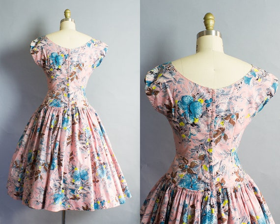 Pink Cotton Small 26W 36B 1950s Floral Dress wEqdvv8