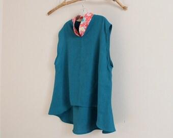 SIZE XL lake green linen top with japanese art print collar / ready to wear linen top / lake green linen top / summer linen top /