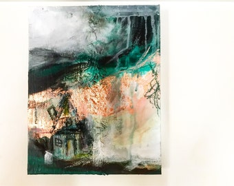 Small/Medium/Abstract/Mixed Media/ Landscape/House/Hills/Color/Lines/Aesthetic/Modern/Building/Original/Acrylic Painting
