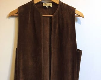 1970s Brown Suede Vest // 70s Small Leather Vest // Vintage