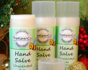 Hand Salve, Solid Lotion, Beeswax, Unscented, chapped hands