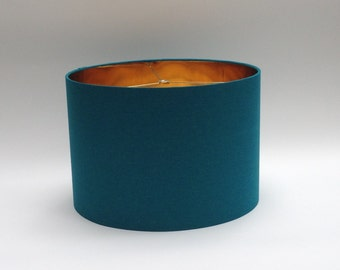 Perfect Small Drum Lamp Shade Lampshade In Teal Linen Fabric With Metallic Gold  Lining   Custom Lamp