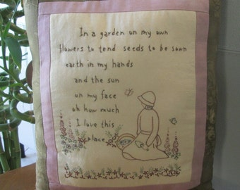 Embroidered English Garden Pillow - Decorative Garden Pillow - Embroidered Inspirational Verse - Country Room Accent - Garden - Flowers
