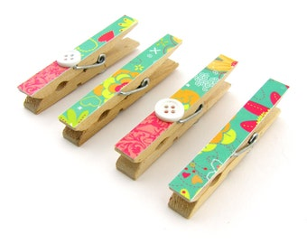 Decorative Clothespin Magnets, Set of 4, Magnetic Clips, Refrigerator, Magnet Clips, Strong Magnets, Buttons, Turquioise, Coral, Floral
