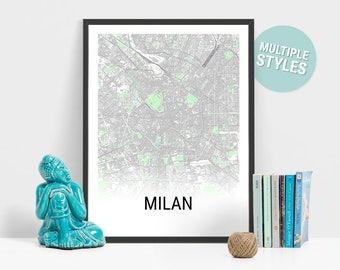 Milan Map Print, Italy, City Map, City Map Print, Travel Map, Map Art, Map Poster, Wall Art, Home Decor, Modern, Minimalist