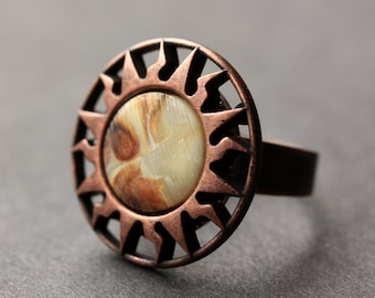 Copper Sun Ring. Button Ring. Copper Ring. Adjustable Ring. Handmade Ring. Celestial Jewelry. Handmade Jewelry.
