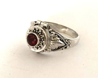 Red Garnet Small Poison Ring Bali Sterling Silver Locket Ring  AR79