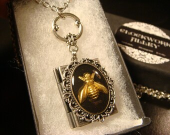 Steampunk Style  Bee Book LOCKET Necklace (2006)