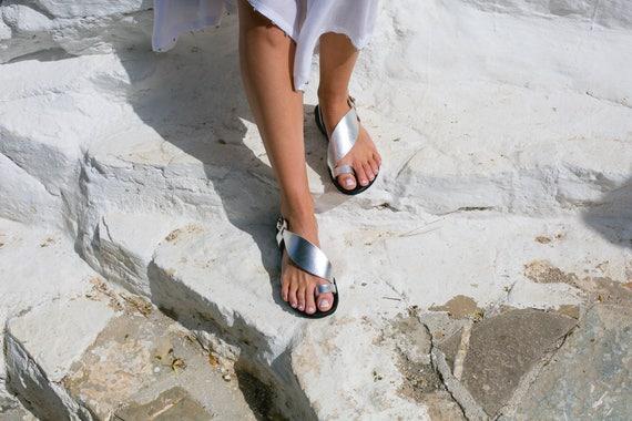 strap Leather Black Greek Sandals amp; Flat sandals Toe sandals Two colour sandals DAPHNE Silver Women Greek sandals ring 6w01dBUwq