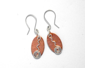 Sterling Silver and Copper spiral earrings, ethical eco friendly jewellery