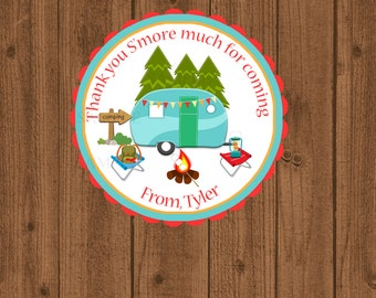 Camping Birthday Favor Tag, S'more Birthday Favor Tag, RV Camping Tag, Trailer Camping Tag