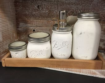 Ball mason jar bathroom cannister set WITH  box tray