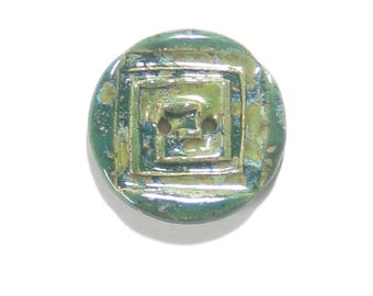 Green Rustic Round Square Design Button, (1) Two Hole One Inch Button, Bracelet Button, Scarf Button, Artisan Stoneware Button, Jade Green