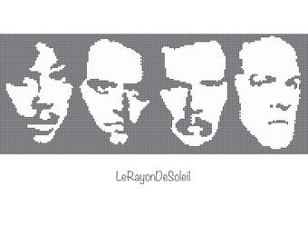 Metallica portrait heavy band cross stitch pattern silhouette - PDF Instant download.