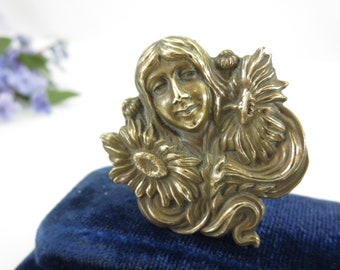 Art Nouveau Brass Hat Pin - Mucha Style Woman with Sunflowers