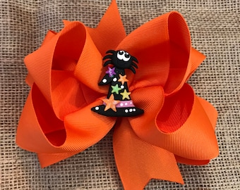 """4"""" Spider Witch Hat Hairbow"""
