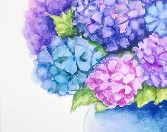 ORIGINAL HYDRANGEAS Watercolor Painting 8X10, Hydrangea Art, Floral Watercolor, Purple Hydrangea Painting,