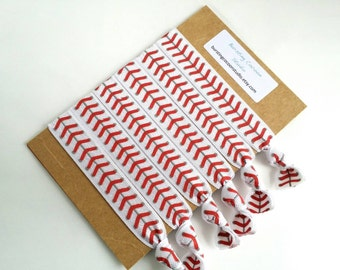 baseball hair ties, set of hairties, FOE knot elastic ponytail holders, white with red stitches, sports softball hair ties, baseball mom