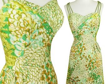 Vintage 50s Dress / Alix of Miami / Hawaiian Dress / Pinup Dress / S M / Rockabilly Tropical Sheath Green Print Strappy VLV Sleeveless Slit
