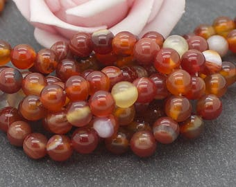 20 round beads Agate 6 mm orange color PG108