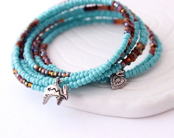 Turquoise Wrap Bracelet -  Southwestern Colors, Deep Brown Glass Seed Beads, Southwest Hare / Pewter Heart Charm , Memory Wire Jewelry