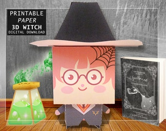 Printable 3D Paper Witch , Craft Witch Spellbook and Potion , paper magic bottle , halloween party decor , paper DIY witch Harry Potter prop