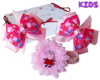 Peppa pig hair bow / Peppa pig bracelet / Peppa pig outfit / Peppa pig corsage / Peppa pig gift  Peppa pig present  Peppa pig Christmas gift