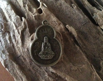 Vintage Buddha Pendant Buddhism Necklace Jewelry Found Object Asian Token Medallion Made in Thailand Blessing