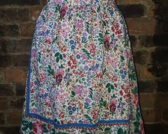 Ladies UK 6 8 Vintage 1970's Floral Boho Hippy Retro Cotton Ruffle Swing Skirt