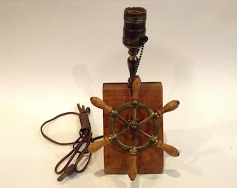 Vintage Brass & Wood Ship Wheel Lamp Décor Solid Wood Base Fully Functional Nautical Themed Home / Office Collectible