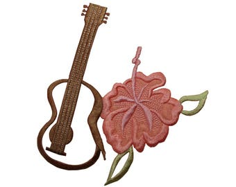 ID 6325 Ukulele and Hibiscus Patch Flower Hawaii Embroidered Iron On Applique