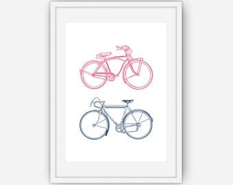 Bicycle Print, Bike Print, Colored Print, His and Hers Bicycle Print, Bicycle Wall Art, Bicycle Print, Wall Art, Printable, Instant Download