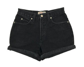 "28"" Black Vintage London Jean High Waisted Shorts"