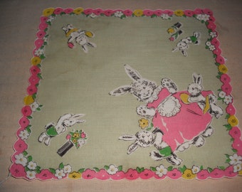 Vintage Handkerchief - Easter Rabbit-Bunnies - 1950s