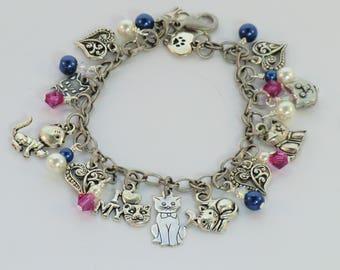 SALE! Dark blue and magenta cat charm bracelet, I Love My Cat, cats paw bracelet, kitty charms, silver heart charm pearl crystal bracelets