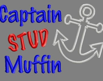 Buy 3 get 1 free!  Captain stud muffin embroidery design, achor applique design, anchor boy design 5x7 4x4