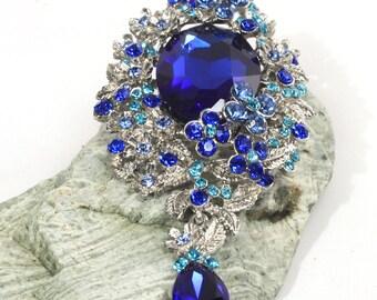 Large Aqua Blue, Over Sized Cobalt Rhinestone Brooch, Silver, Flower, Dangle, Cobalt Blue, Statement Brooch, Bold Bling