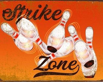 Strike Zone Bowling Metal Sign, Game Room, Mancave, Den  HB7261