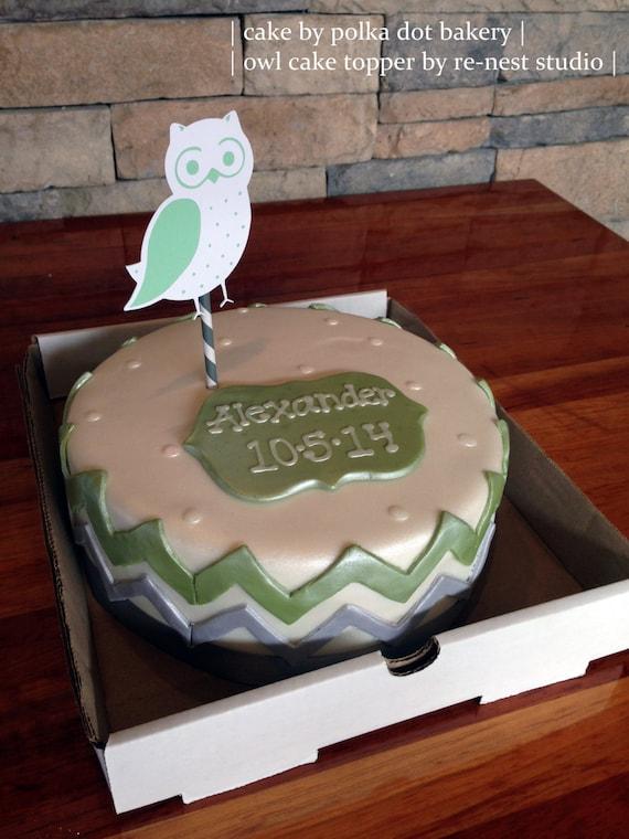 owl cake topper baby showerbaptismfirst birthdaysprinkle