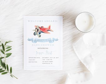 Airplane Invitation, Baby Shower, Birthday Party, Airplane, Watercolor Airplane, Vintage Airplane, Airplane Baby Shower, Invitation, Shower